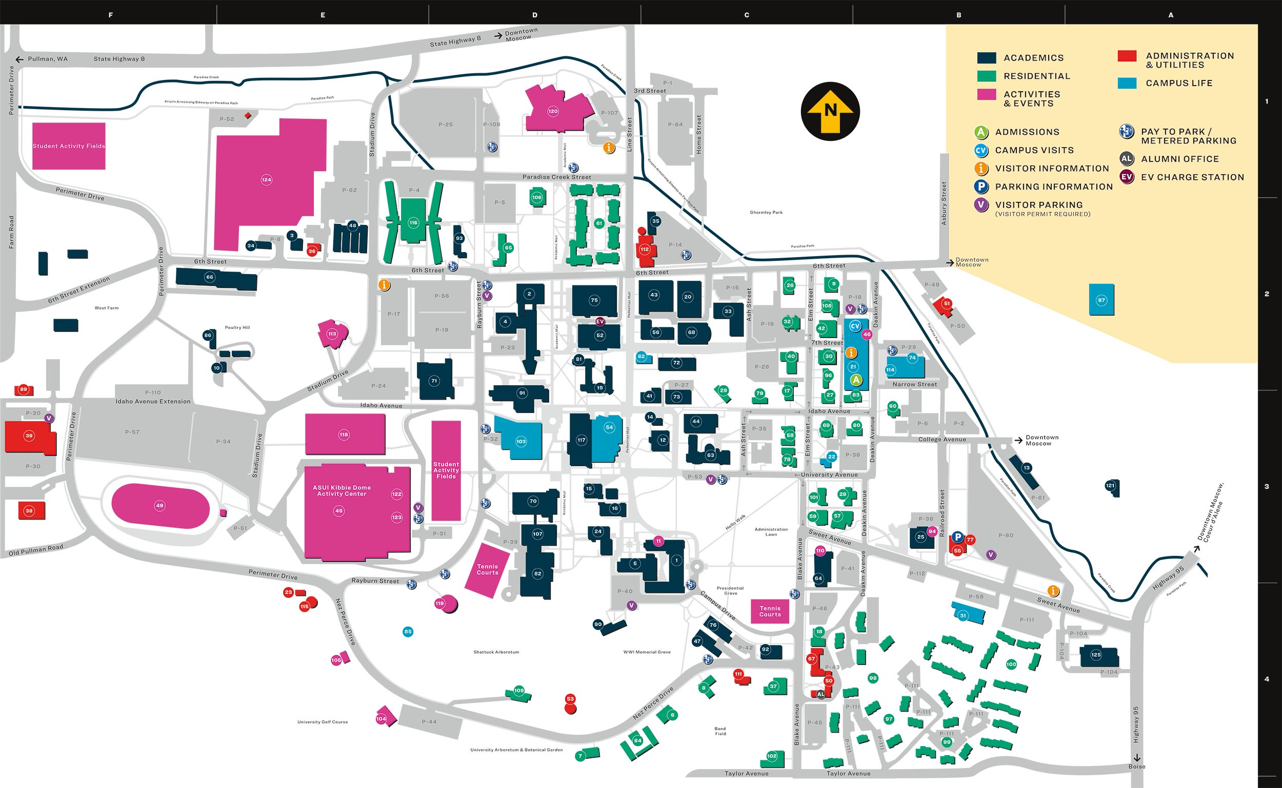 U Of I Campus Map Campus Map | University of Idaho